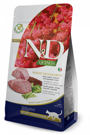 FARMINA N&D NATURAL & DELICIOUS Cat Grain Free Quinoa, Lamb & Broccoli Weight Management - sausā barība kaķiem 5kg